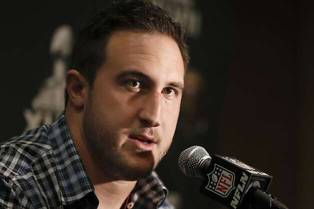 Tackle Joe Staley talks with the media as the San Francisco 49ers hold their first press conference after arriving in New Orleans Louisiana  on Sunday Jan. 27,  2013. Photo: Michael Macor, The Chronicle