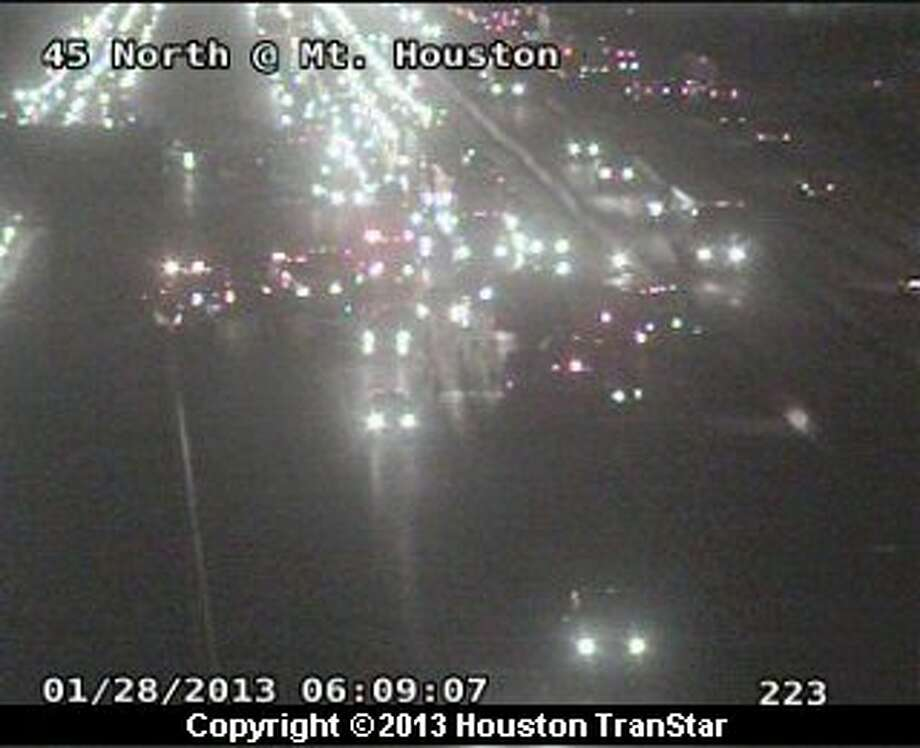 Traffic was snarled on the North Freeway near West Road after a crash about 6 a.m. Monday morning. Photo: Houston Transtar