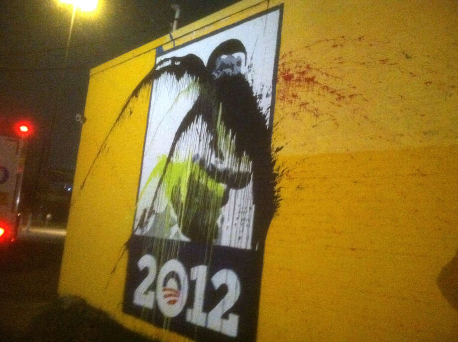 A mural of President Obama at the former Democratic Party headquarters in Houston was vandalized during the weekend. The painting was done in mid-October 2012 to cover another vandalized portrait of the U.S. leader. Photo: Dale Lezon / Houston Chronicle