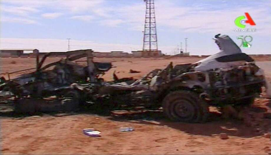 In this image taken from Algerian TV broadcast on Sunday Jan. 20 2013, showing what it said was the aftermath of the hostage crisis at the remote Ain Amenas gas facility in Algeria. Algerian special forces stormed the plant on Saturday to end the four-day siege, moving in to thwart what government officials said was a plot by the Islamic extremists to blow up the complex and kill all their captives with mines sown throughout the site. (AP Photo/Algerie TV  via Assiaciated Press TV)  **  TV OUT   ALGERIA OUT  ** Photo: Uncredited, TEL / AP2013