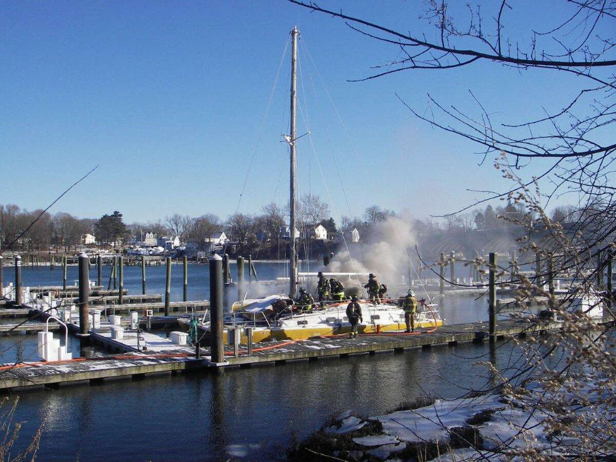The 40-foot catamaran thatâÄôs been a fixture in Stratford harbor for years was destroyed by fire over the weekend, according to the Stratford Fire Department. The craft served as a houseboat.