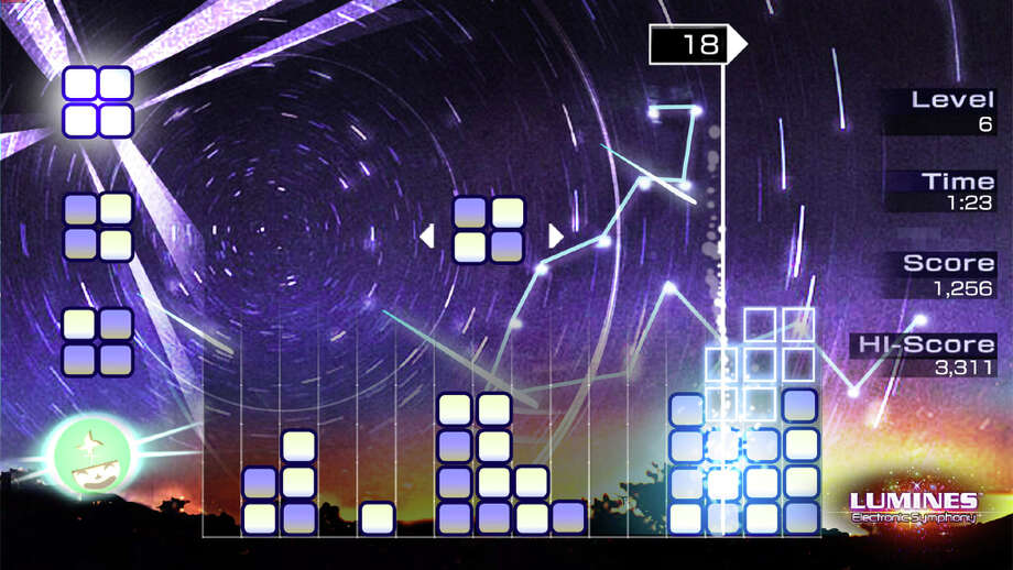 Lumines: Electronic Symphony: Players control quartets of blocks falling from the top of the screen, aiming to line them up with similarly colored blocks resting in the play area. Make a square of four matching blocks and they'll vanish, along with any adjacent blocks of the same color -- though not until a time bar sweeps over them. Age 8. Platforms: PlayStation Vita . More at CommonSenseMedia.org.