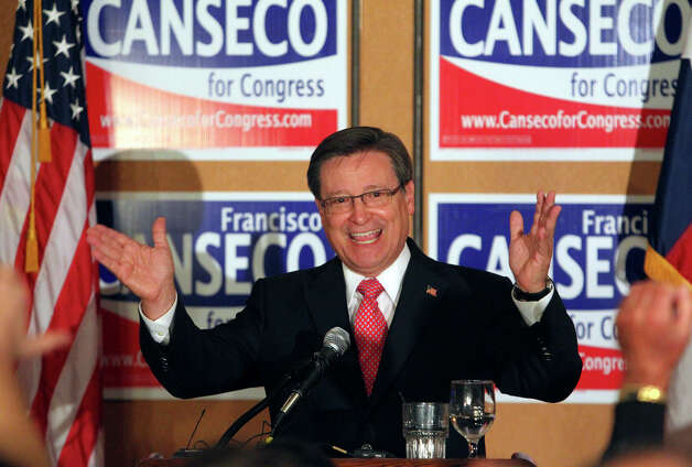 Francisco Canseco celebrates his victory  in the District 23 Congressional District race over Ciro  Rodriguez at the Crowne Plaza San Antonio Airport  on  Nov. 2,  2010. Photo: TOM REEL / treel@express-news.net
