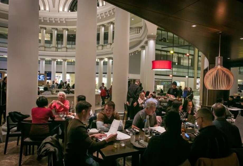 On one visit, we were seated at one of those tables; it's fine when the mall is busy, but when the shops have closed, it can feel cavernous and forlorn.