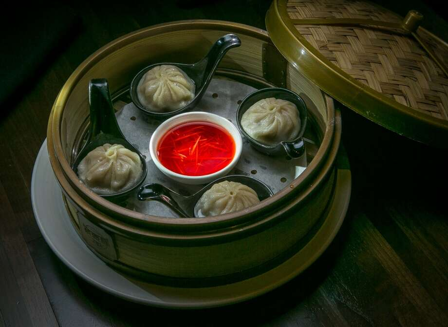 While the dim sum can't compete with Yank Sing, it's better than most places. M.Y. China offers three versions of soup dumplings, five to an order: wild boar ($8, pictured), fresh crab in a pork sauce ($12), and pork and black truffles ($18). All are good, but the truffle flavor was so weak it didn't justify the added expense.