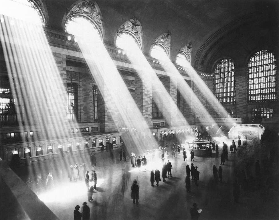 Sunlight streams through the windows in the concourse at Grand Central Terminal in New York City in 1954. The famed station turns 100 years-old in February 2013.