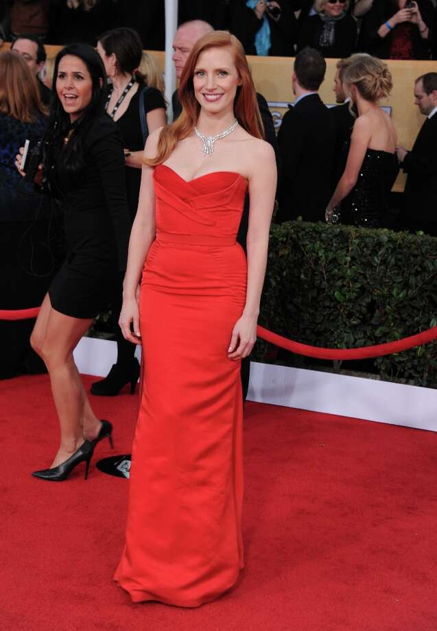 Jessica Chastain arrives at the 19th Annual Screen Actors Guild Awards at the Shrine Auditorium in Los Angeles on Sunday Jan. 27, 2013. (Photo by Jordan Strauss/Invision/AP) Photo: Jordan Strauss, Associated Press / Invision