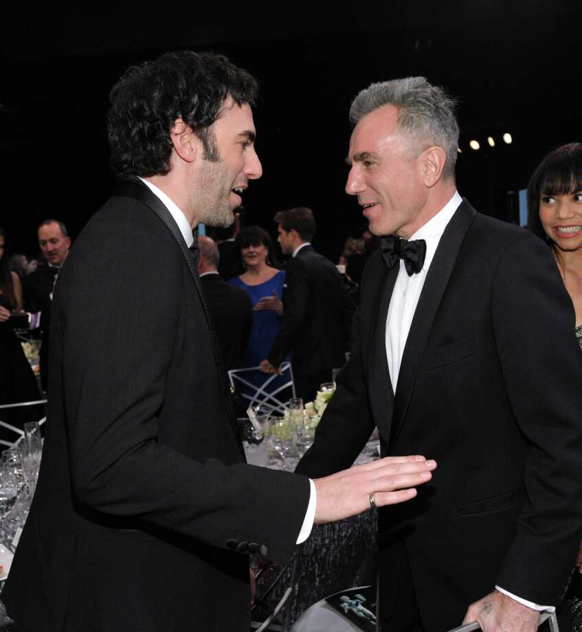 Sacha Baron Cohen, left, and Daniel Day Lewis appear in the audience at the 19th Annual Screen Actors Guild Awards at the Shrine Auditorium in Los Angeles on Sunday Jan. 27, 2013. (Photo by John Shearer/Invision/AP) Photo: John Shearer, Associated Press / Invision