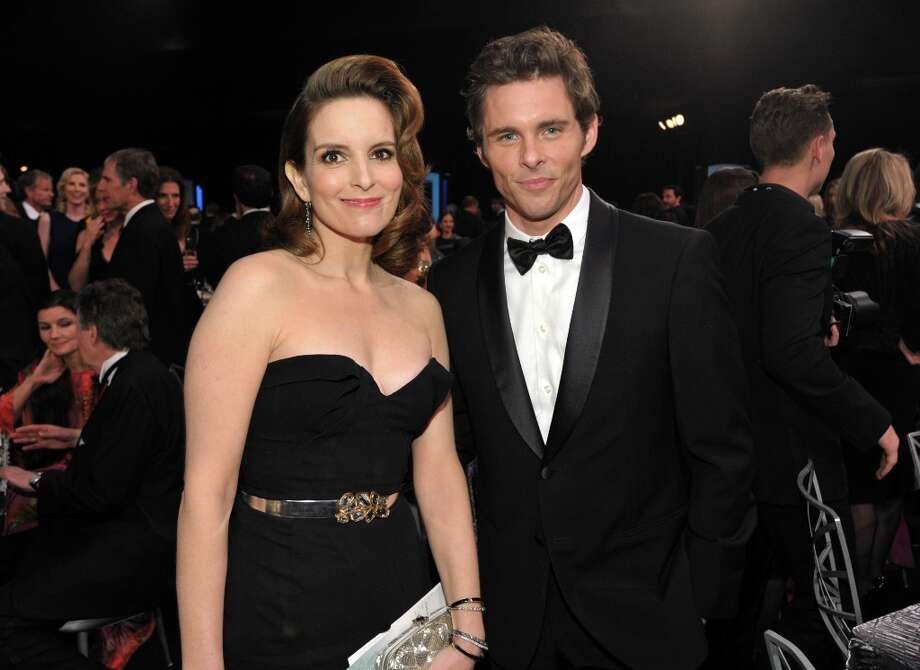 Tina Fey, left, and James Marsden pose in the audience at the 19th Annual Screen Actors Guild Awards at the Shrine Auditorium in Los Angeles on Sunday Jan. 27, 2013. (Photo by John Shearer/Invision/AP) Photo: John Shearer, Associated Press / Invision