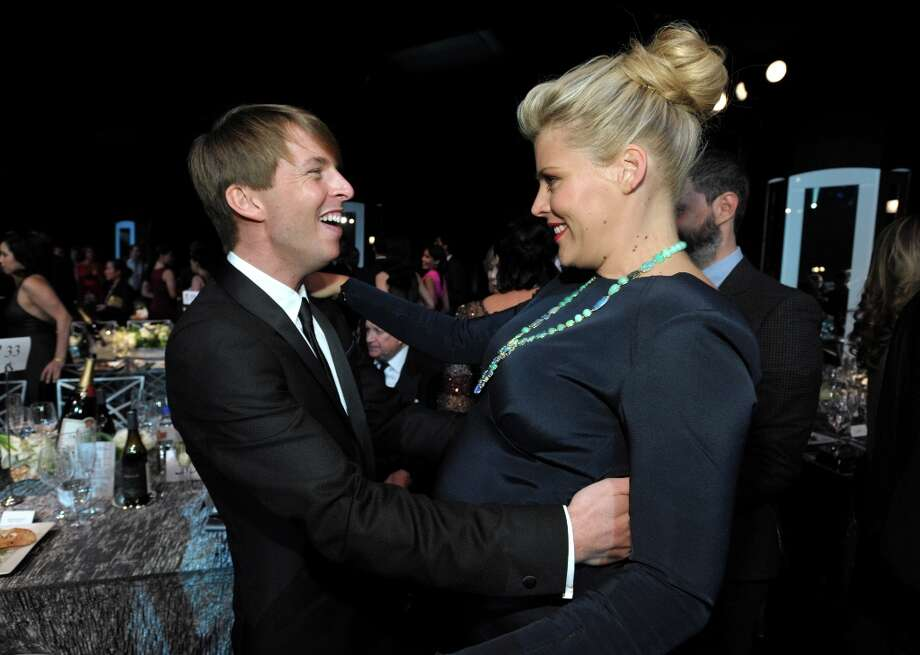 Jack McBrayer, left, and Busy Phillips appear in the audience at the 19th Annual Screen Actors Guild Awards at the Shrine Auditorium in Los Angeles on Sunday Jan. 27, 2013. (Photo by John Shearer/Invision/AP) Photo: John Shearer, Associated Press / Invision