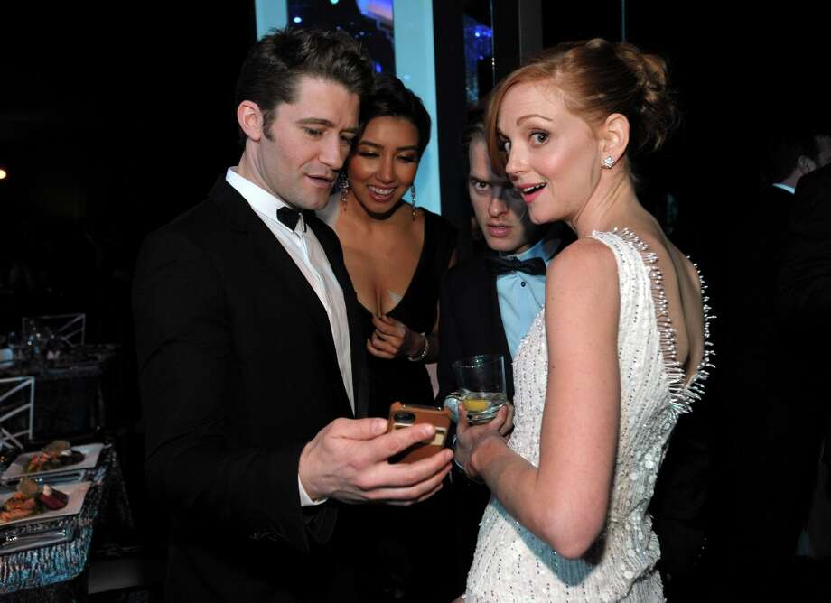 From left, Matthew Morrison, Renee Puente and Jayma Mays speak in the audience at the 19th Annual Screen Actors Guild Awards at the Shrine Auditorium in Los Angeles on Sunday Jan. 27, 2013. (Photo by John Shearer/Invision/AP) Photo: John Shearer, Associated Press / Invision