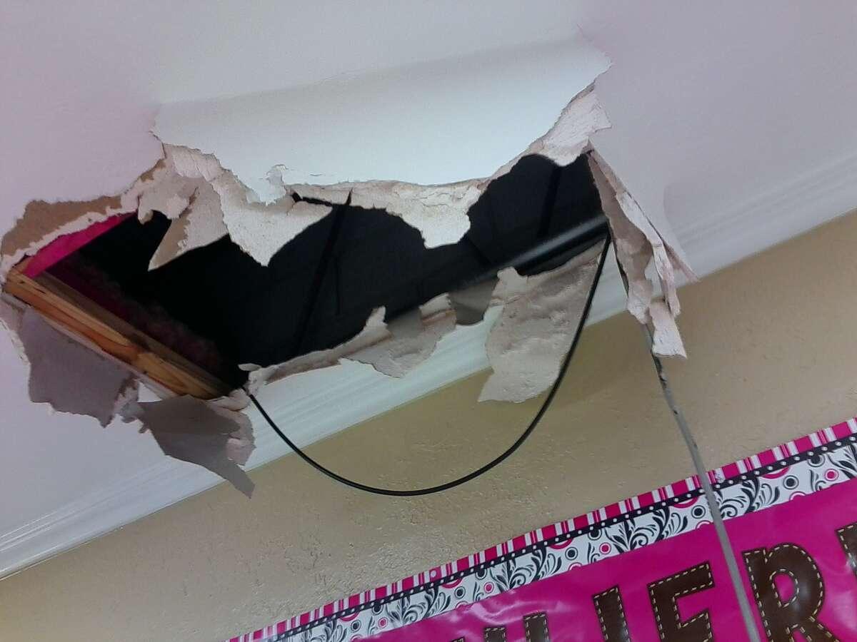 Damaged ceiling inside Templo Hermosa Church, 6247 Willowbend Blvd.