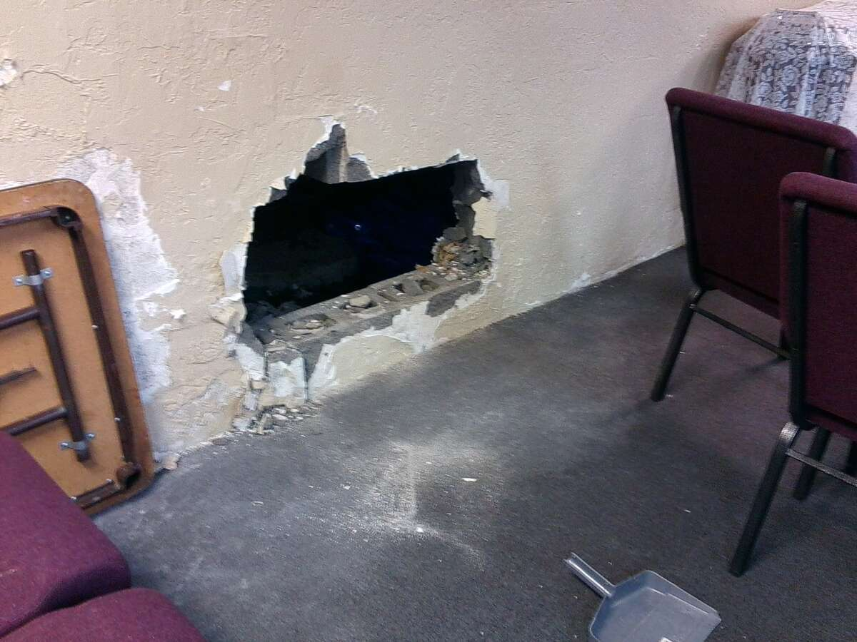 Thieves used a sledgehammer to gain entry to the 125-member church.