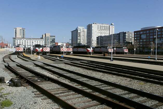 The Caltrain rail yard on Friday Jan. 25,  2013, in San Francisco, Calif. San Francisco's plans for South of Market is more than simply tearing down I-280. The city would like to shrink, eliminate or possibly reroute the Caltrain yard to make room for a new neighborhood. Photo: Jessica Olthof, The Chronicle