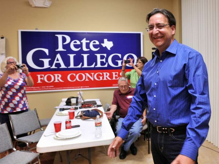 Democratic Congressional candidate Pete Gallego greets well-wishers at his campaign headquarters on runoff night, July 31, 2012.