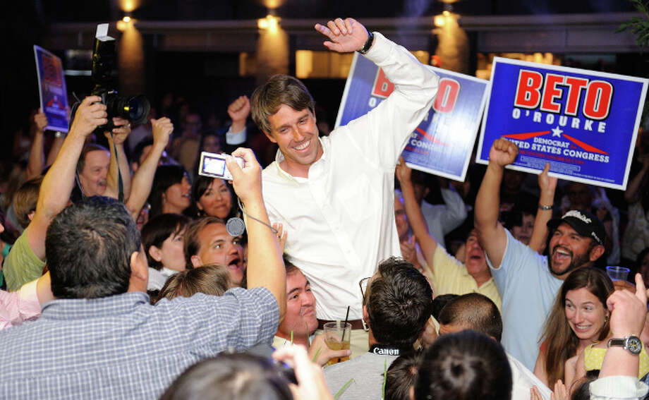 Beto O'Rourke and supporters celebrate their primary victory over Rep. Silvestre Reyes (D-Texas).