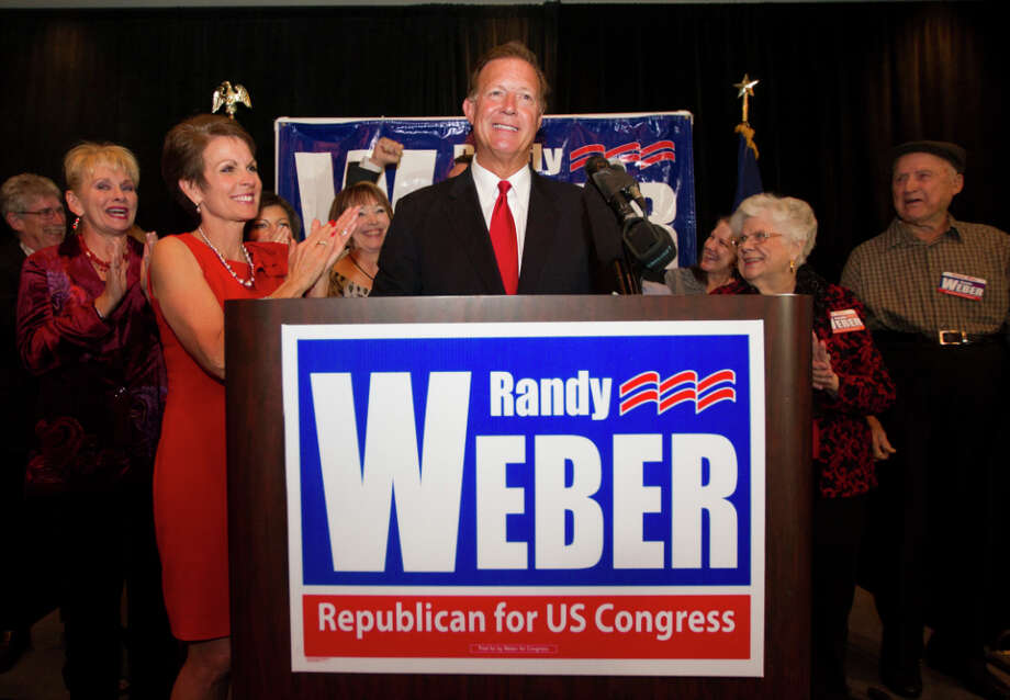 Newly elected Republican candidate for Congressional District 14 Randy Weber gives a victory speech after defeating Democratic candidate Nick Lampson at the South Shore Harbor Resort and Conference Center on Tuesday, Nov. 6, 2012, in League City. Photo: J. Patric Schneider, For The Chronicle / © 2012 Houston Chronicle