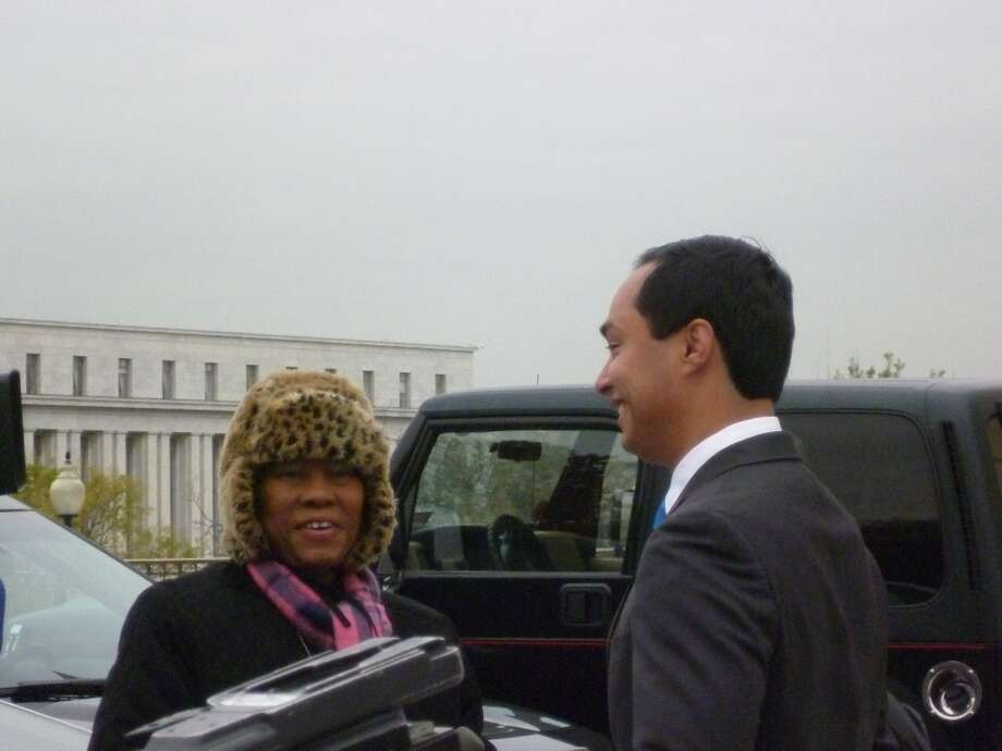 Joaquin Castro giving an interview in front of the Capitol on Nov. 15.