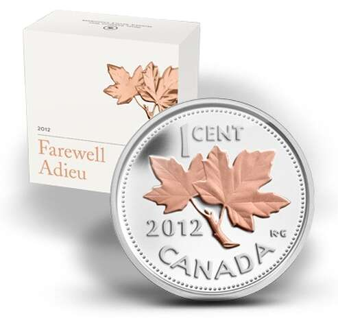 "A 2012 ""Farewell to the Penny"" commemorative coin: 0.5 ounces of silver, with pink gold plating. The mint produced 30,000 and sold them for $54.95. Sold out. Photo: Royal Canadian Mint"