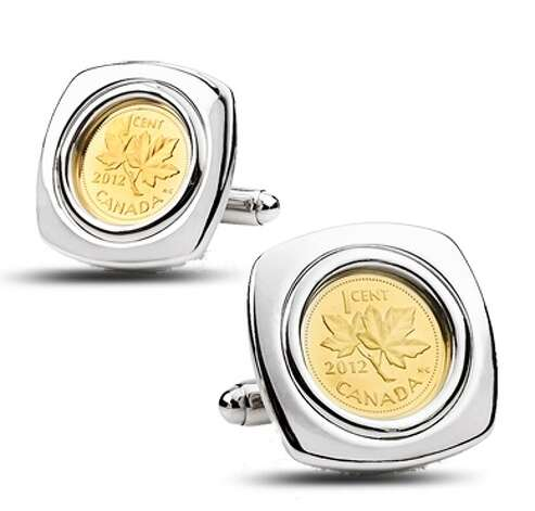 A set of cufflinks, with a 1/25-ounce 2012 gold penny set in sterling silver, $299.95. Sold out. Photo: Royal Canadian Mint