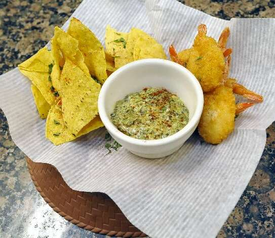 Spinach dip and shrimp appitizer. Dave Ryan/cat5