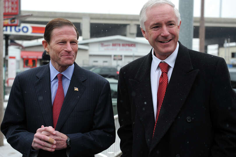 Senator Richard Blumenthal and Mayor Bill Finch arrive at a press conference at Marina Village, in B