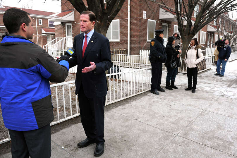Senator Richard Blumenthal conducts an interview during a press conference at Marina Village, in Bri