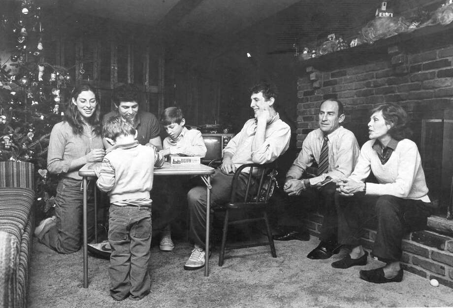 The Young family in their Greenwich home during the Christmas season in the early 1980s, from left, Melissa, Jim, Steve, Tom, Mike, LeGrande and Sherry. Photo: Greenwich Time