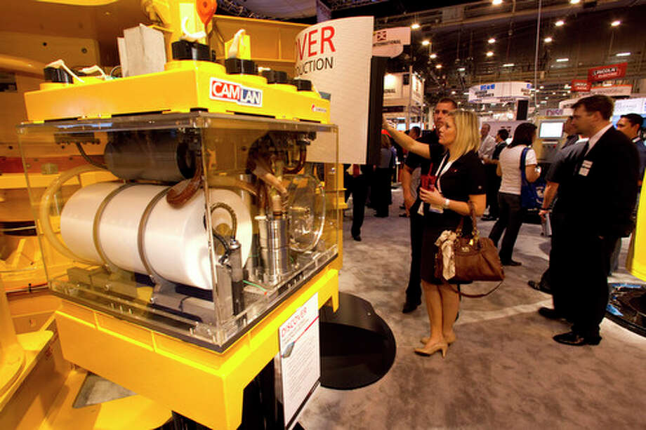 A subsea communications system is on display at the Cameron booth during the 2012 Offshore Technology Conference Wednesday, May 2, 2012, in Houston. Photo: Brett Coomer, Houston Chronicle / © 2012 Houston Chronicle