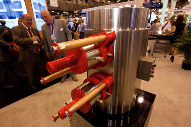 The NOLA 30,000 psi blow out preventer is on display at the National Oilwell Varco booth during the 2012 Offshore Technology Conference Wednesday, May 2, 2012, in Houston. Photo: Brett Coomer, Houston Chronicle / © 2012 Houston Chronicle