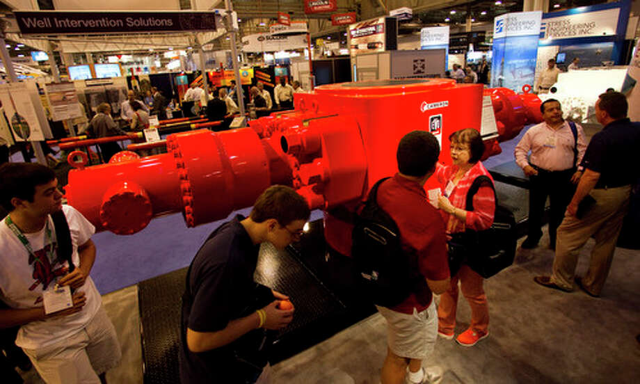 A land-based blowout preventer is shown on display at the Cameron booth during the 2012 Offshore Technology Conference Wednesday, May 2, 2012, in Houston. Photo: Brett Coomer, Houston Chronicle / © 2012 Houston Chronicle