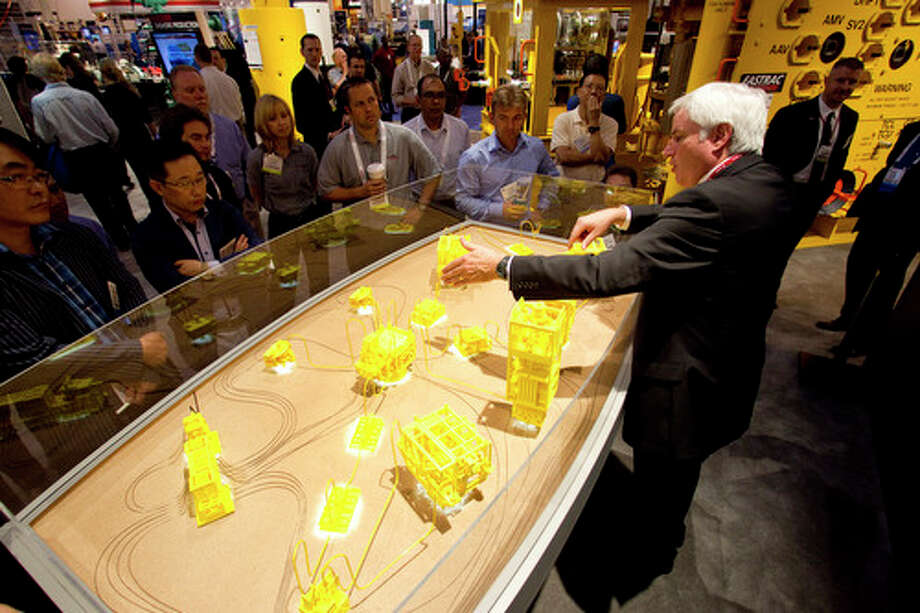 A sub sea system model is on display at the Cameron booth during the 2012 Offshore Technology Conference Wednesday, May 2, 2012, in Houston. Photo: Brett Coomer, Houston Chronicle / © 2012 Houston Chronicle