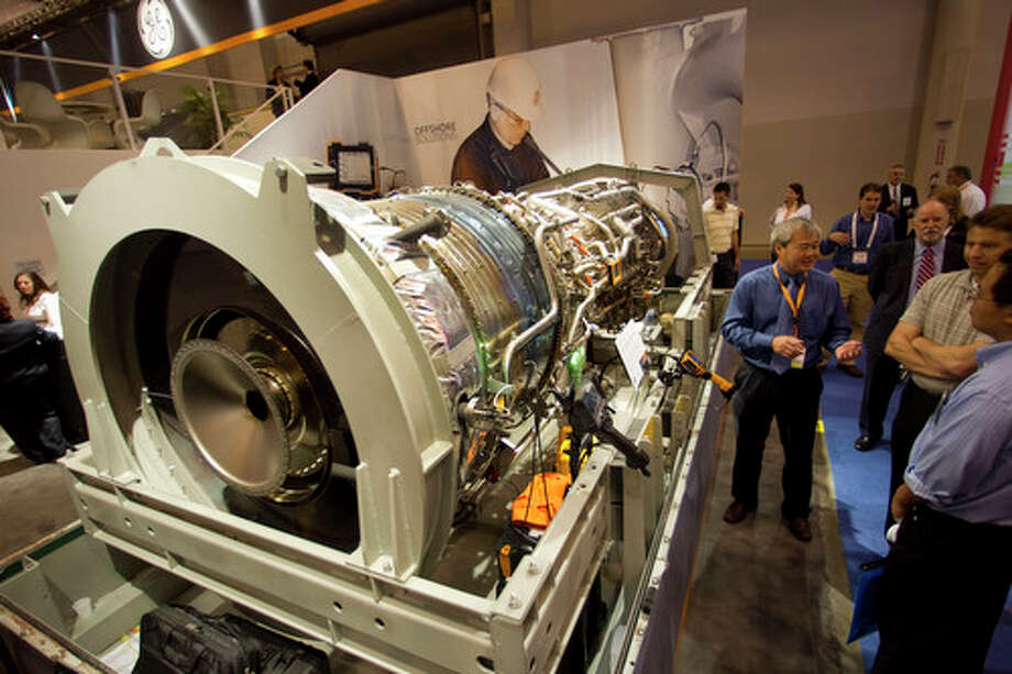 A GE gas turbine is on display during the 2012 Offshore Technology Conference Wednesday, May 2, 2012, in Houston. Photo: Brett Coomer, Houston Chronicle / © 2012 Houston Chronicle