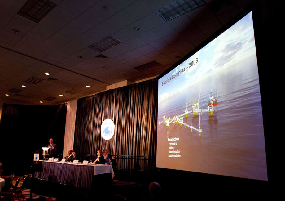 David Hendicott, of ConocoPhillips, speaks about the Norwegian oil industry during the conference Wednesday. Photo: Brett Coomer, Houston Chronicle / © 2012 Houston Chronicle
