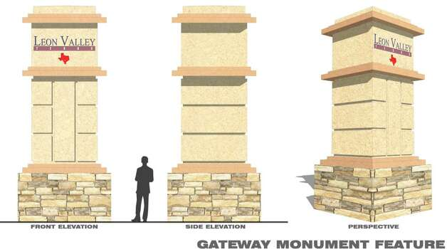 Monuments proposed for the city limits of Leon Valley will be made of cast stone and stand 20 feet tall.  They are designed to boost the cityÕs identity for motorists passing through. Photo: City Of Leon Valley