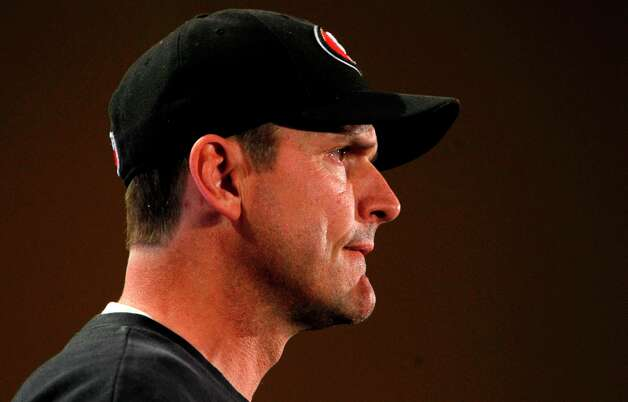 Head coach Jim Harbaugh speaks with reporters as the San Francisco 49ers hold their daily press conference at the New Orleans Marriott hotel in New Orleans, Louisiana  on Monday Jan. 28,  2013. Photo: Michael Macor, The Chronicle / ONLINE_YES