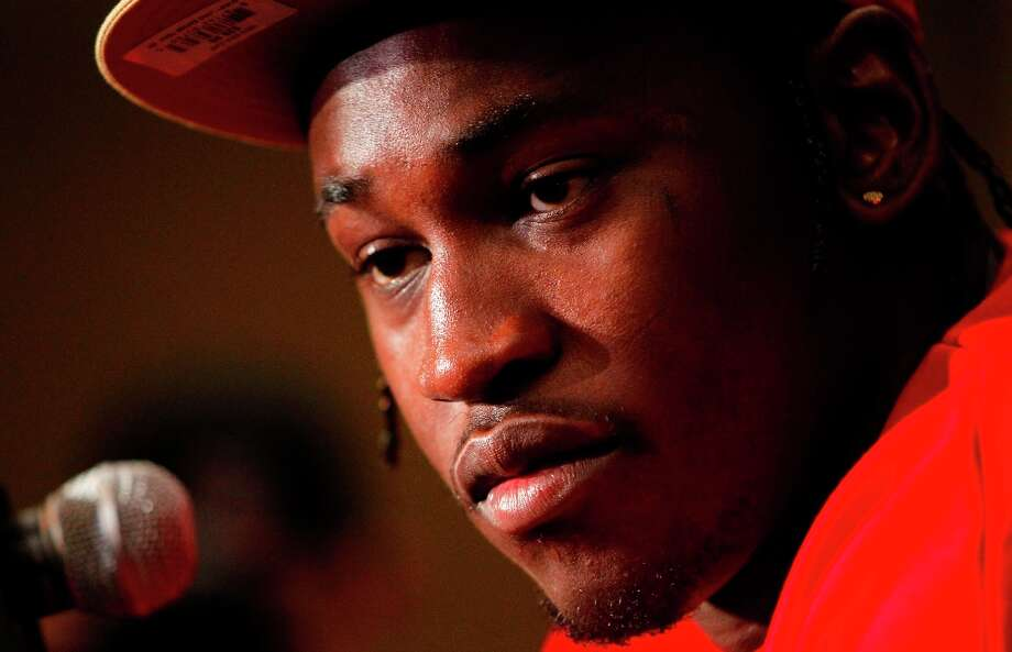 Linebacker Aldon Smtih contemplates a question from the media as the San Francisco 49ers hold their daily press conference at the New Orleans Marriott hotel in New Orleans, Louisiana  on Monday Jan. 28,  2013. Photo: Michael Macor, The Chronicle / ONLINE_YES