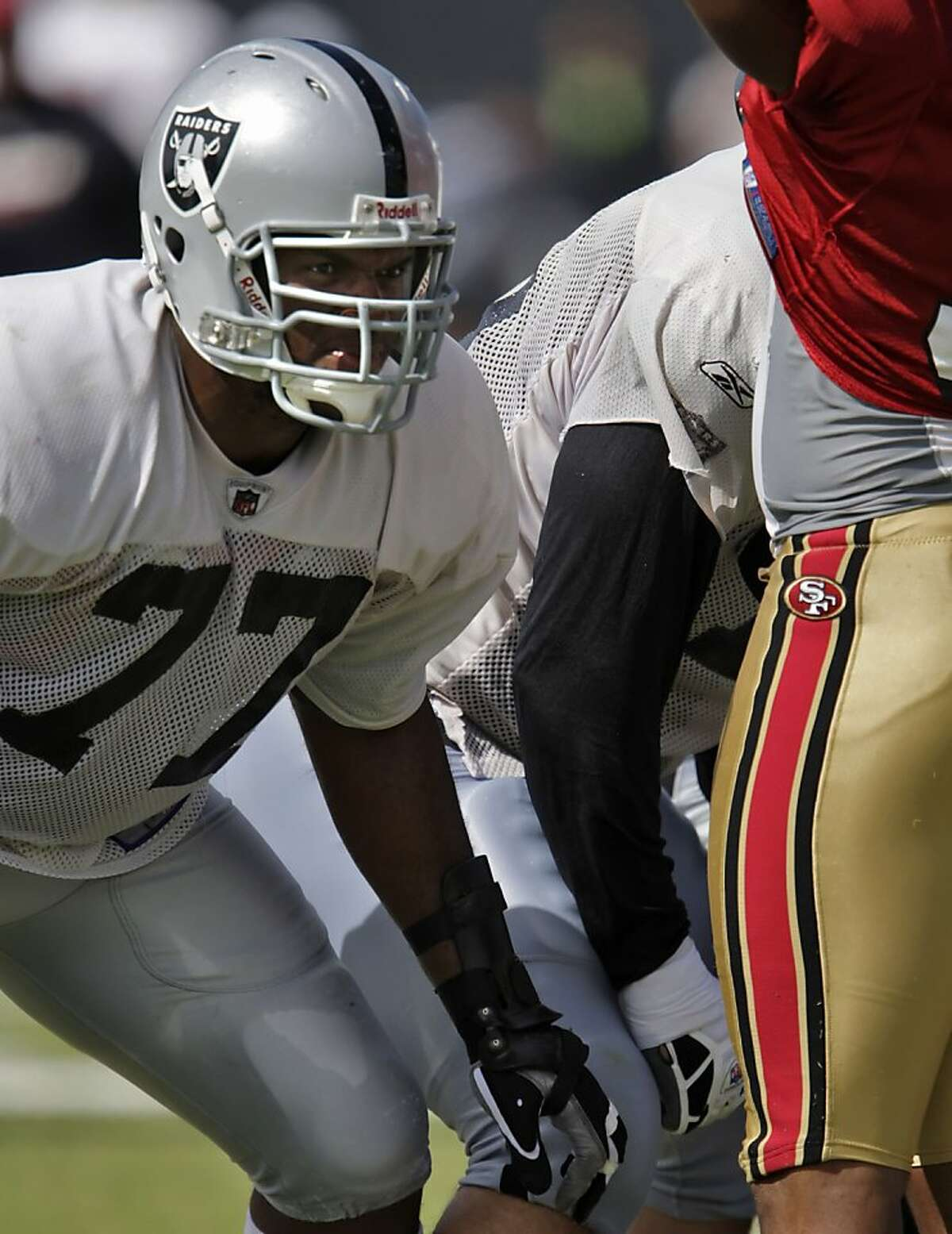 Raiders new left tackle, Kwame Harris. 49ers and Raiders practice against each other at the Raiders Napa training camp on Monday, August 4, 2008.