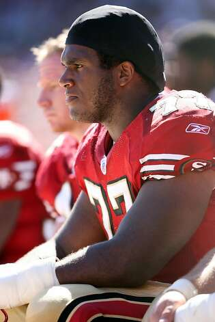 San Francisco 49ers tackle Kwame Harris sits on the bench while the defense is on the field against the Indianapolis Colts at Monster Park in Oct 2005. Photo: Jeff Lewis-US PRESSWIRE, US PRESSWIRE