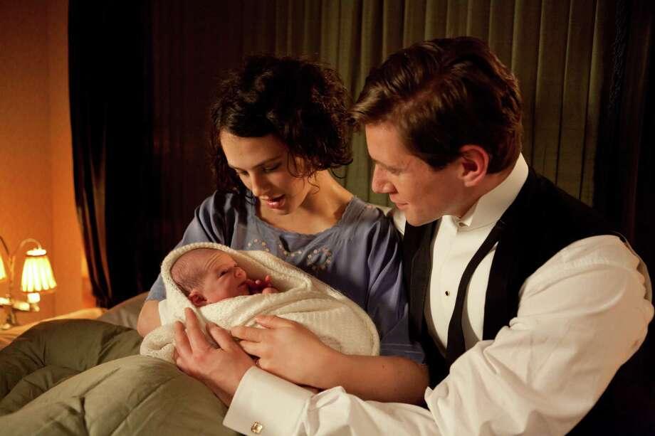 "Jessica Brown Findlay as Lady Sybil and Allen Leech as Tom Branson in ""Downton Abbey."" Photo: Joss Barratt, Photographer / Carnival Films"