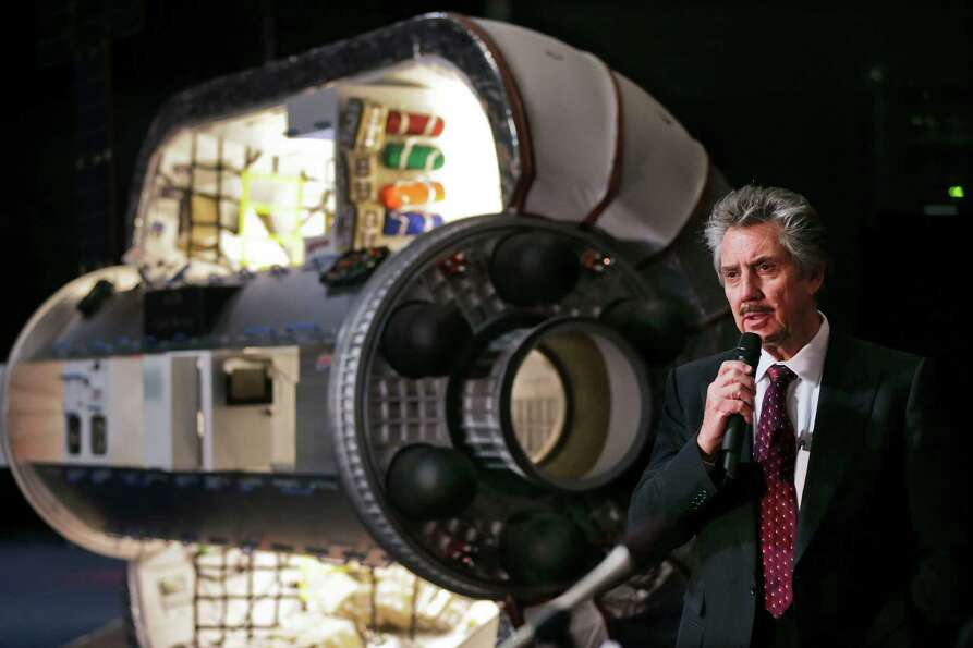 Bigelow Aerospace founder and president Robert Bigelow answers questions from members of the media o