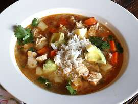 Caldo Tlalpeno, a Mexican-style chicken soup, from Jacqueline Higuera McMahan for South to North column.