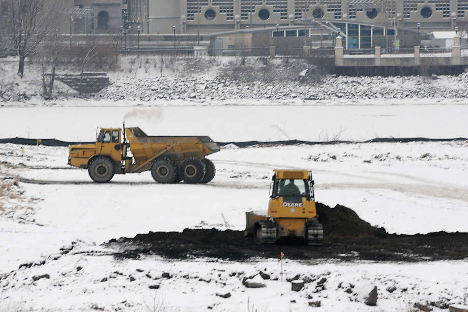 Work has begun on a planned trail that's part of the proposed De Laet's Landing development on the Hudson River on Monday Jan. 28, 2013 in Rensselaer, N.Y. This is the site of the old Rensselaer High School near the Amtrak Train Station. (Lori Van Buren / Times Union) Photo: Lori Van Buren