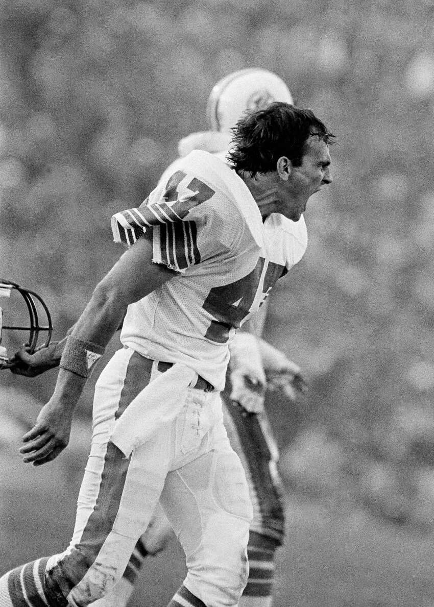 Glenn Blackwood, Churchill High School Lost Super Bowls XVII and XIX with the Miami Dolphins. Pictured here, Blackwood (47) yells at officials after a fumbled San Francisco 49ers pass, recovered by the Dolphins, was ruled incomplete, leaving possession with the Niners, during first half of Super Bowl XIX in Stanford stadium on Jan. 20, 1985. The 49ers won 38-16.