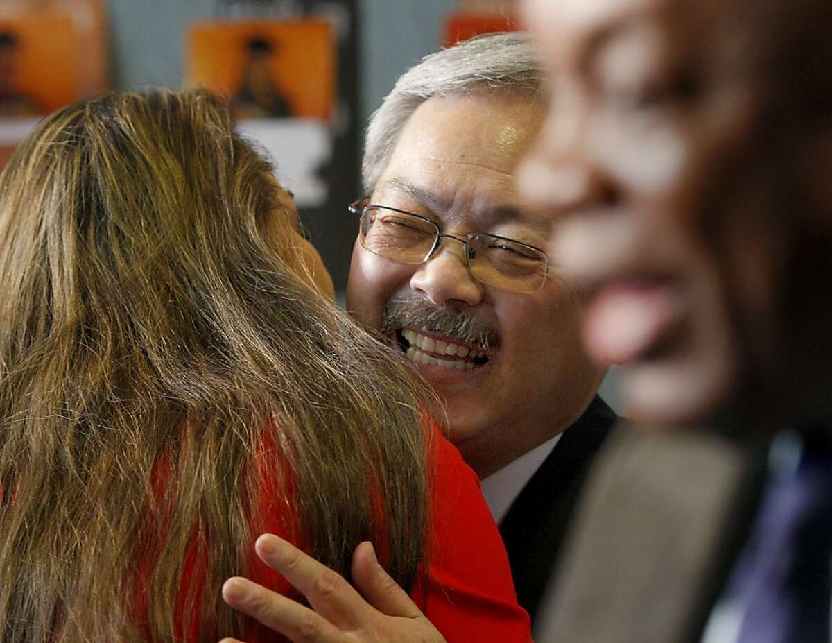 Mayor Ed Lee embraced well wishers after his speach. San Francisco Mayor Ed Lee held his first state of the city address Monday January 28, 2013 at College Track (on Third Street) since taking office.
