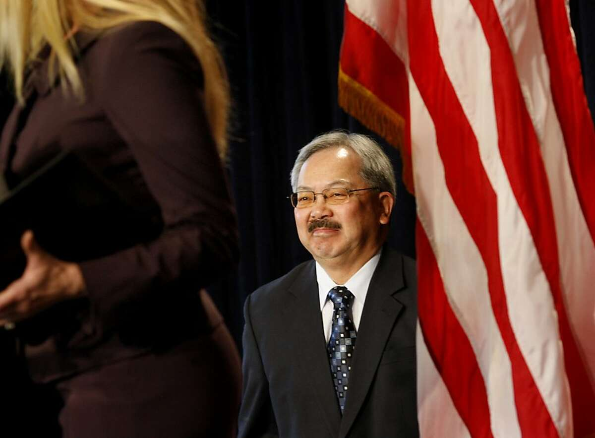 Mayor Ed Lee was introduced by Laurene Powell Jobs at College Track. Mayor Ed Lee strode to the podium to begin his speech. San Francisco Mayor Ed Lee held his first state of the city address Monday January 28, 2013 at College Track (on Third Street) since taking office.