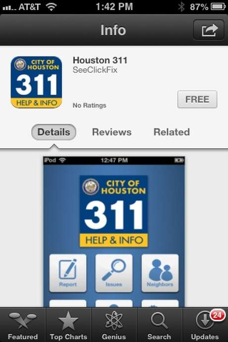 The new Houston 311 app, which is available for free downloads at the iTunes Store, will officially go live on Tuesday. Photo: ITunes Store