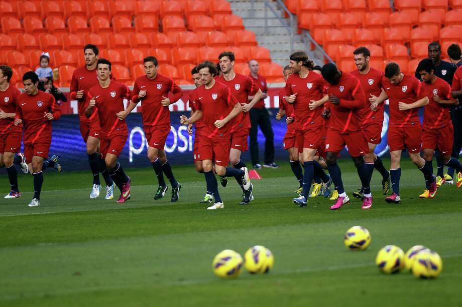 The U.S. Men's National Soccer Team warms up during a public training session at BBVA Compass Stadium a day before they play against Canada Monday, Jan. 28, 2013, in Houston. Photo: Johnny Hanson, Houston Chronicle / © 2013  Houston Chronicle