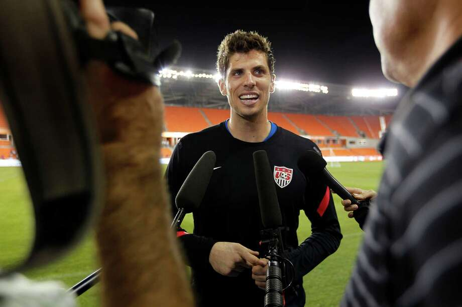 Tally Hall of the Dynamo is interviewed by the media after an open practice at BBVA Compass Stadium. Photo: Johnny Hanson, Houston Chronicle / © 2013  Houston Chronicle