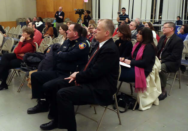 Safety Commissioner Ted Jankowski listens as the Interfaith Council of Southwestern Connecticut, the Stamford Public Schools, the Youth Services Bureau and LFCRAC hold a gathering to discuss violence and trauma at the First Presbyterian Church in Stamford, Conn., Jan. 23, 2013. Photo: Keelin Daly / Keelin Daly